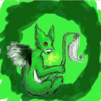 neon green wolf dog thing. by mymilkiaen