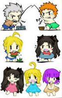 Fate/Stay Night Chibis Colored by LionFear