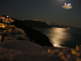 one cloud in Santorini's night by Gbrazil10