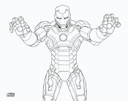 Iron Man- Mark 42- BnW by MikeDimayuga
