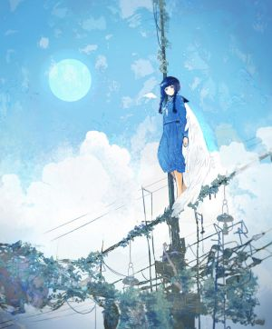 girl on utility pole by omiomikekyu