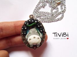 Totoro and Sootballs necklace by tivibi