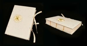 White flowers notebook by Katlinegrey