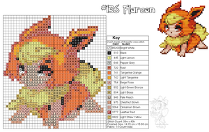 Flareon Moemon Cross Stitch by zombiefriedchicken