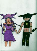 Espeon and Umbreon Human form colored by xogirlxo78