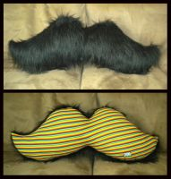 Black Moustache Pillow by StuffItCreations