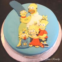 The Simpsons Cake by ginas-cakes