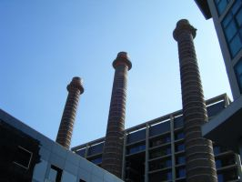 Chimneys and Sky by Serrio