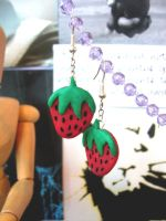 Strawberry Earrings by elleira5jewellery