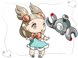 Jasmine and Magnemite by Chaomaster1