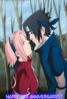 SasuSaku: Happy 5th Anniversary by IITheDarkness94II
