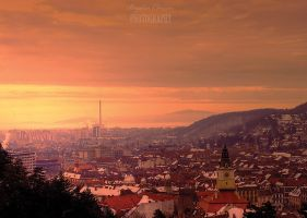 winter sunset brasov by seraphRo