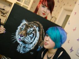 Me, the twin and a painting. by MzJekyl