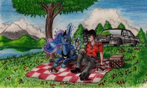 Princess Luna and Tommy on a Picnic by newyorkx3