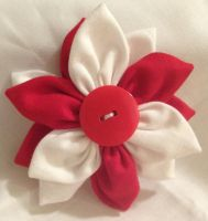Red and White Fabric Flower Hair Barrette by jenlucreations