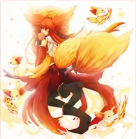 Delphox Gijinka and Fennekin by iingo