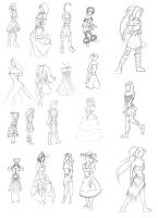 Fashion sketches by Aceofdreams