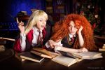 Merida and Rapunzel studing by Zoisite-Virupaksha