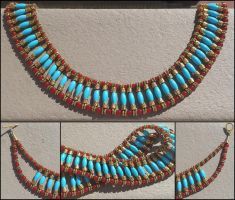 Egyptian Beaded Collar Necklace by Llyzabeth