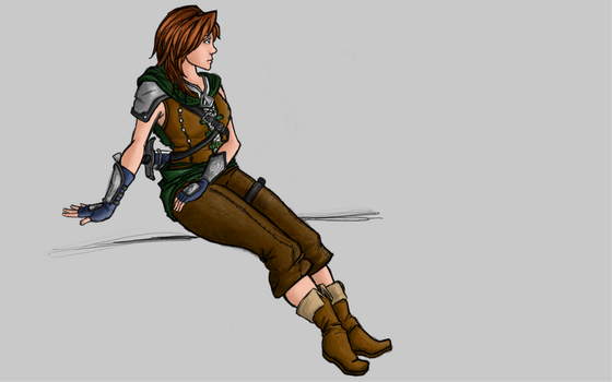Lia, Airship Captain of Tarnaleal (Colored) by ZillegasArt