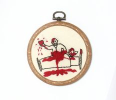 Buffy Hush embroidered wall hanging by Scarygothgirl