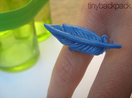 Blue Feather Engagement Ring by tinybackpack