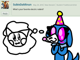Ask #2: Favorite electric rodent by AskBubblesAndOthers