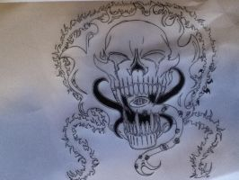 Flame skull,tattoo. by Wolf-Angel-whitewing