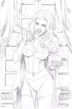 Emma Frost pencil layout by aethibert