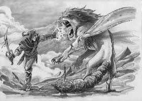 Witcher vs manticore by OFFO