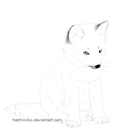 Fox Kit Lineart #1 by Hachiiiiiiko