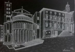 Drawing - City Square_03 by eduaarti