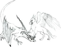 Gryphon versus Dragon by Skandranon01