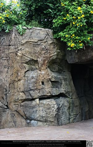Face Carved in Stone by DamselStock