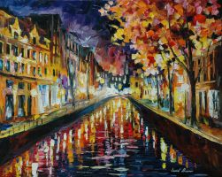 Amsterdam night by Leonid Afremov by Leonidafremov