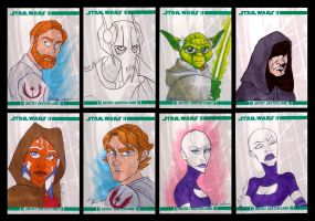 Clone Wars Sketch Cards by autogatos