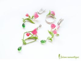 Set 'Spring Spirit' - Polymer Clay Flowers by SaisonRomantique