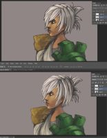 Before (top) after (bottom) artwork of Riven by Hamzilla15