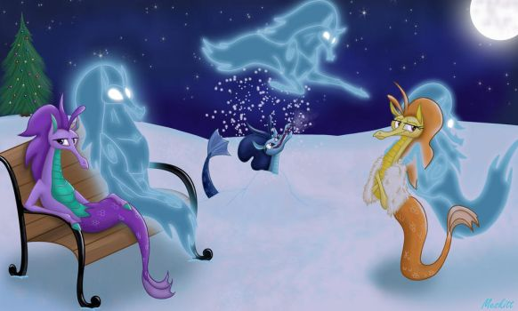 The Sirens and The Windigos on a snowy night by Meskitt