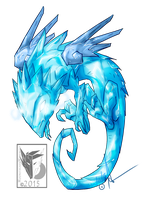 Ice Salamander Dragon by MoonstalkerWerewolf