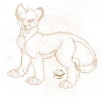 Sketch - young Simba by Lunewen