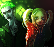 Suicide Squad Joker and Harley Quinn by Leandraw