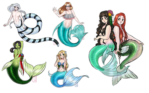 Mermaid Sketch Dump by KittyCatKissu