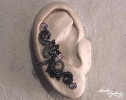 Steampunk ear cuff - black and grey by bodaszilvia