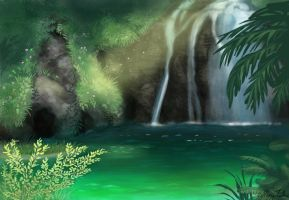 Waterfall Lagoon by StarliteMaiden