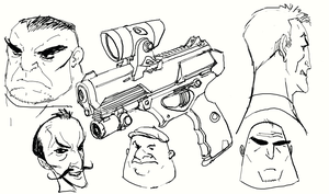 Thugs and gun by DanNortonArt