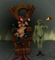 Goblin Queen on throne by Selkirk by carol-colors