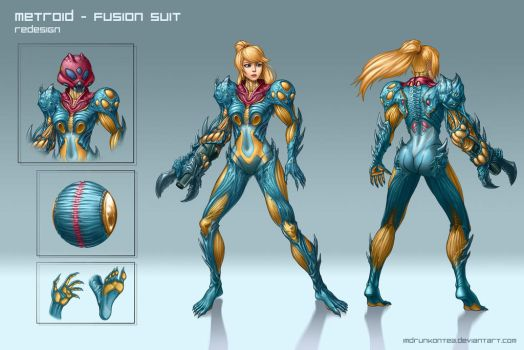 Metroid: Fusion Suit Redesign by imDRUNKonTEA