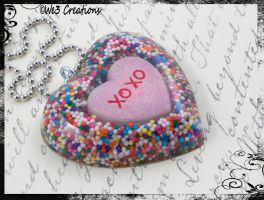 Fun XOXO Conversation Heart Pendant by kelleejm1