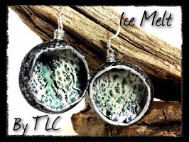Polymer Clay Bezeled Concave Earrings Ice Melt A by Welcome2alittleTLC